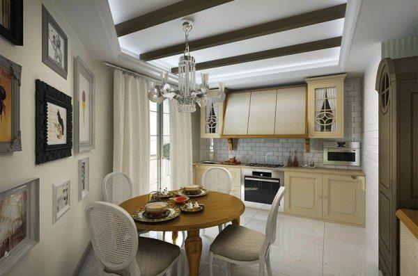 Балки на кухне в неоклассическом стиле