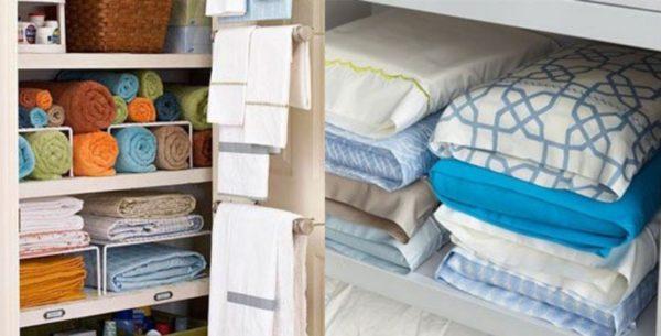Банные полотенца можно скрутить в тугие рулоны, а комплекты постельного белья сложить в наволочки от них