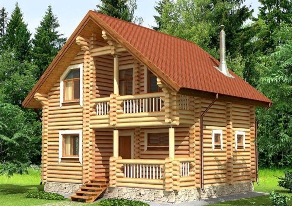 Баня из оцилиндрованного бревна с мансардой выглядит как настоящий сказочный домик.