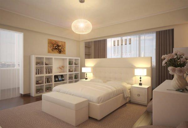 Белый гладкий потолок — лучший вариант для спальни