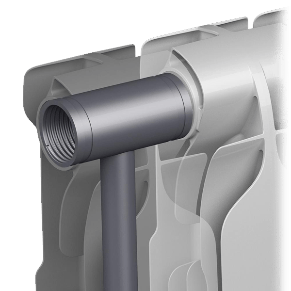 Биметаллический радиатор: прочный стальной сердечник и алюминиевое оребрение, увеличивающее теплоотдачу.