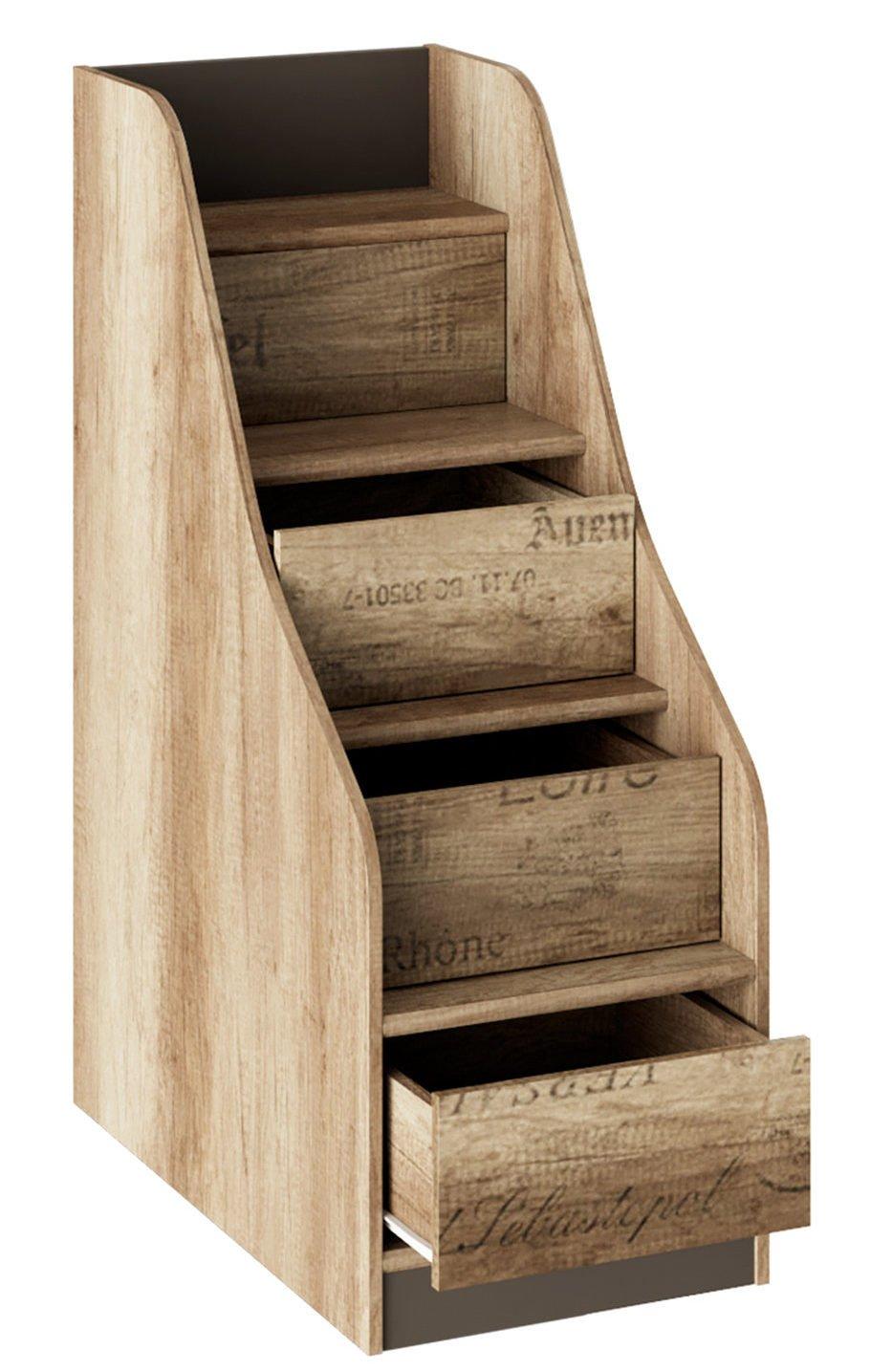 Боковая лестница с выдвижными ящиками