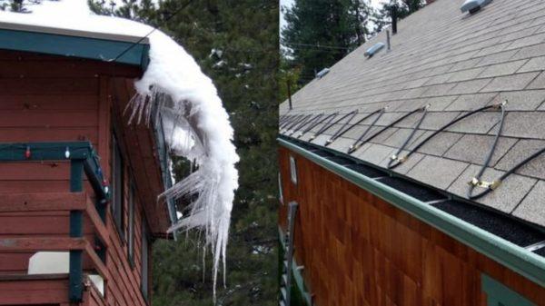 Будучи закрепленным поверх кровли, кабель не разрушает кровельное покрытие, тогда как лед и снег вполне могут привести к потере герметичности крыши.