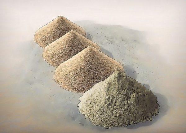 Чаще всего пропорции цемента и песка в растворе равны 1:3.