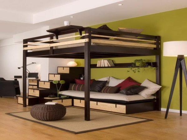 Чаще всего у мебели в духе лофта простая прямоугольная форма.