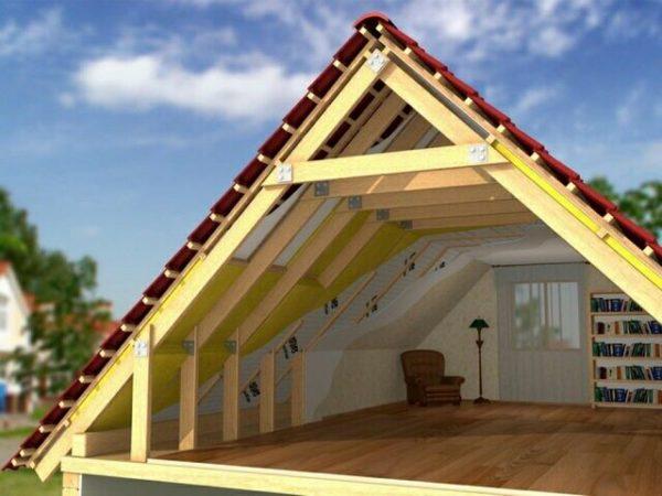 Чердачное пространство крыши с висячими стропилами может использоваться в качестве жилого помещения