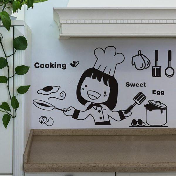 Черно-белая роспись как вариант оформления кухни.
