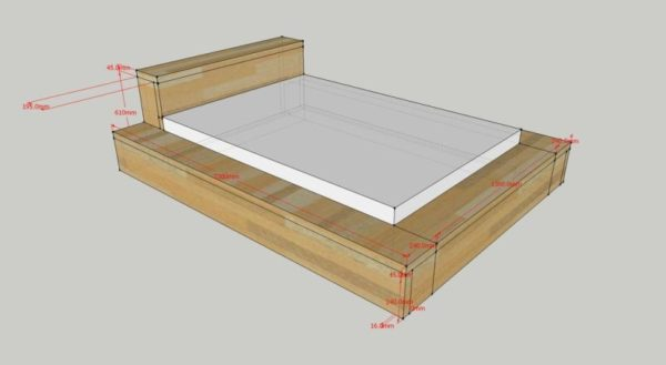 Чертеж двуспальной кровати с бортиком по периметру матраса