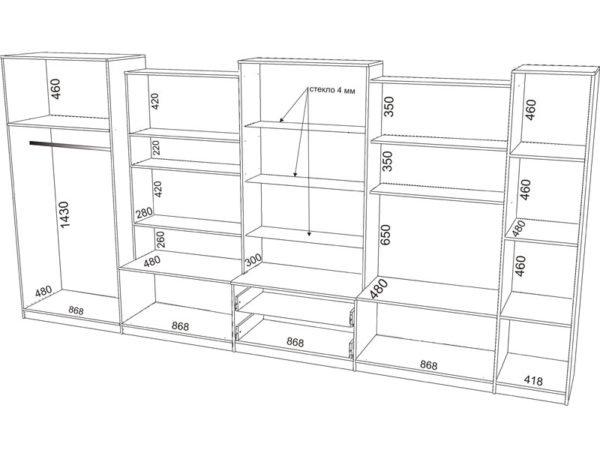 Чертеж гардероба во всю стену – боковая секция для длинных вещей предусматривает установку створок, остальные секции можно оставить открытыми
