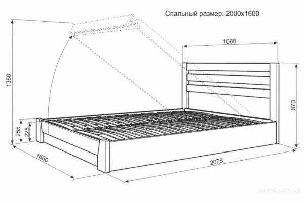 Чертеж конструкции с подъёмным ложем — такое решение позволяет устроить вместительное отделение для хранения постельных принадлежностей