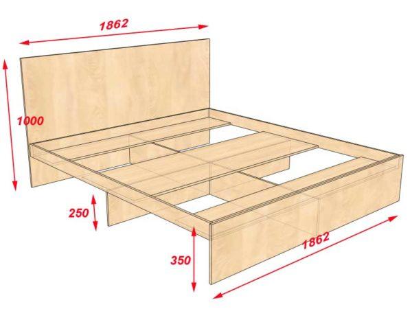 Чертеж кровати под полиуретановый матрас с размерами 1800×2000 мм