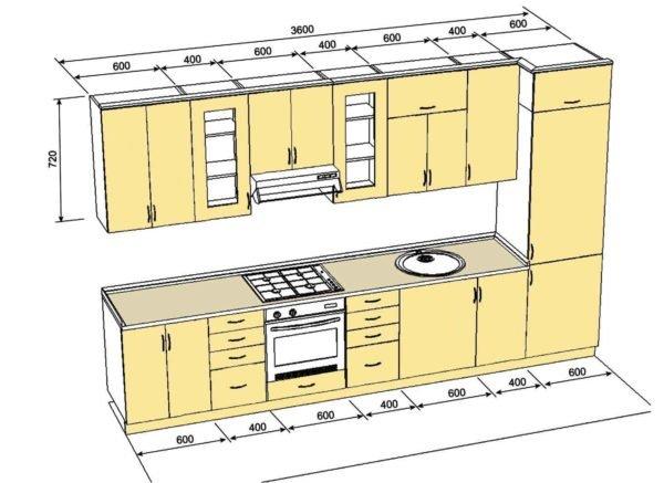Чертеж прямого кухонного гарнитура