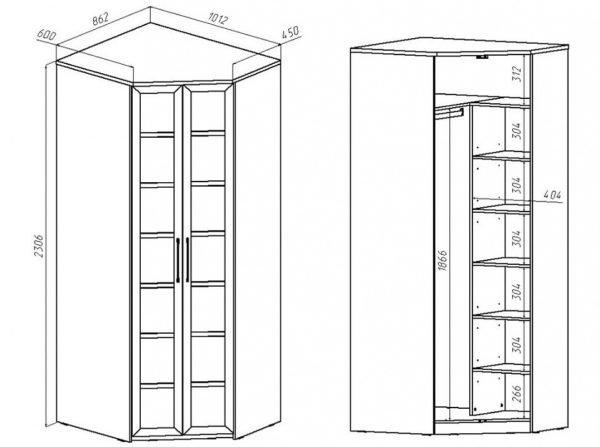 Чертеж углового шкафа со створками в центральной части
