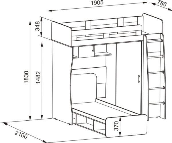 Чертеж угловой двухъярусной конструкции — более сложное решение