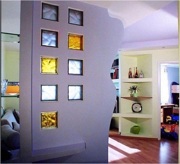 Декоративная перегородка со стеклоблоками