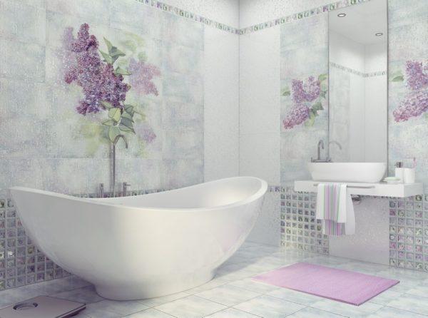 Декоративная плитка для ванной подходит как нельзя лучше.