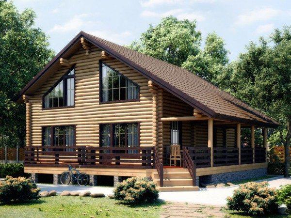 Деревянный дом с открытой верандой