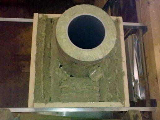 Для обеспечения пожарной безопасности труба должна проходить в изолированном коробе