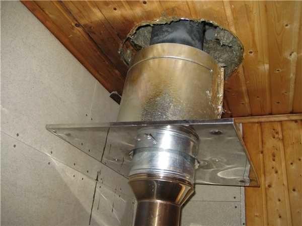 Для обустройства прохода через перекрытия или крышу необходимо использовать короб, заполненный теплоизоляцией