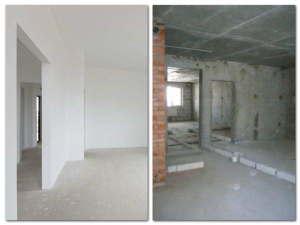 Для сравнения, слева белая отделка, где осталось выполнить косметический ремонт, а справа серая, где нужно сделать все с самого начала