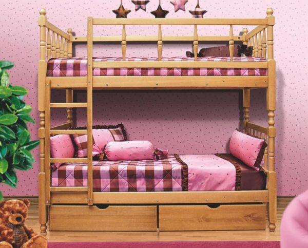 Древесина — отличный материал для изготовления двухэтажных кроватей