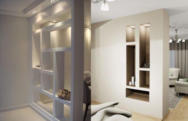 Две параллельно расположенные перегородки делят квартиру студию на несколько функциональных зон