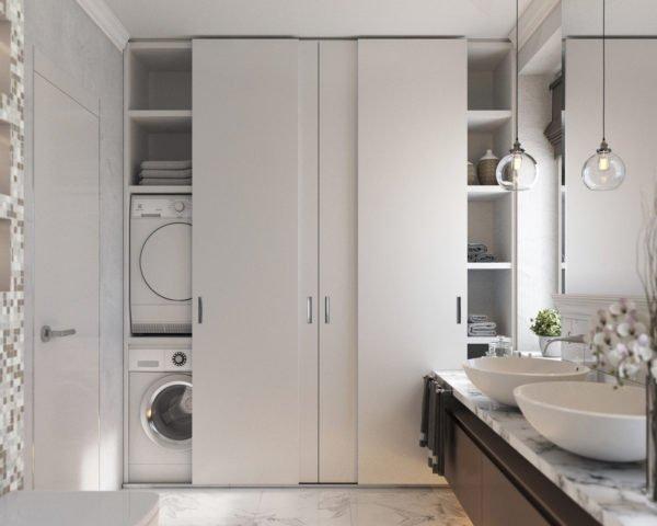 Двери шкафа могут быть различных вариантов: купе, раздвижные, откидывающиеся и т. д.