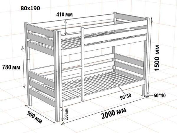 Двухъярусная деревянная кровать «классического» типа под односпальные матрасы 800×1900 мм