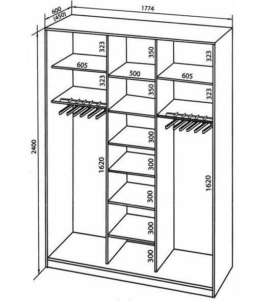 Эскиз и ориентировочная раскладка по материалам для заказа внутренней клетки двухдверной конструкции.