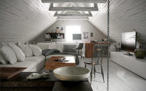 Это пример правильного подхода к обустройству чердачного помещения обычной двухскатной крыши