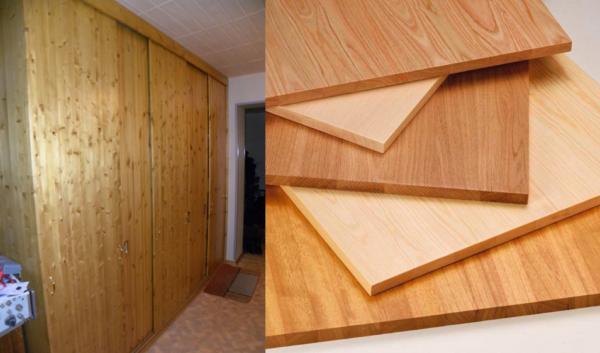 Фасад из мебельного щита – натуральная древесина отделки шкафа гарантировано впишется в классический интерьер