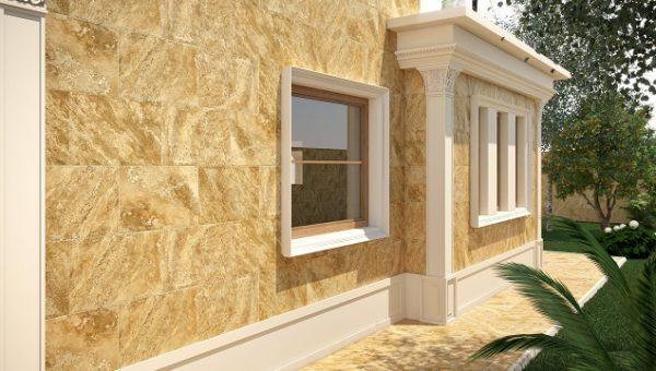 Фасад отделанный керамогранитом.