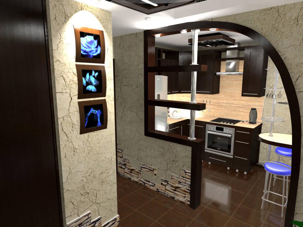 Фото дизайн кухня прихожая вместе
