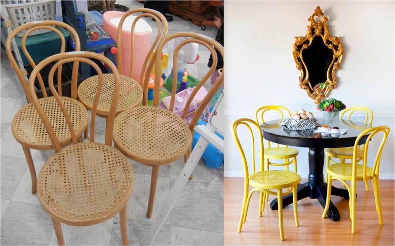 Фото гармонично вписывающихся в интерьер старых стульев.
