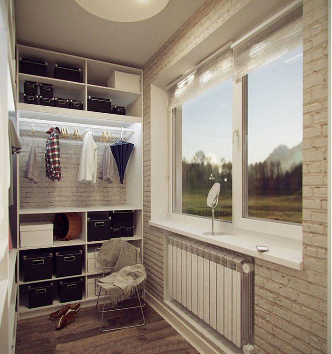 Так как места на балконе мало, там можно сделать гардеробную для сезонных вещей или детских вещей
