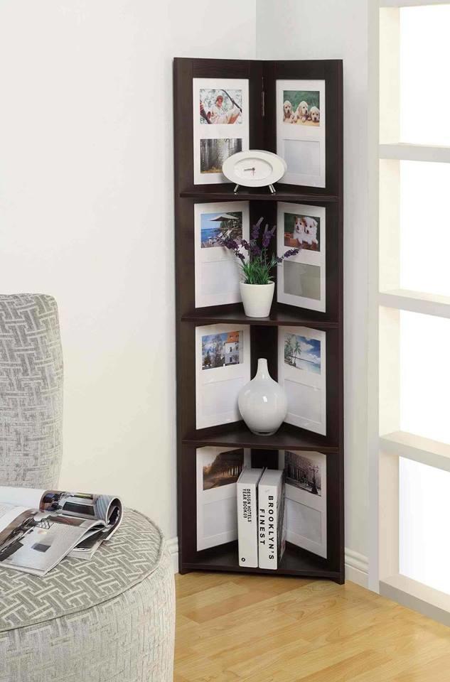 На такие полки лучше ставить какие-то небольшие предметы, чтобы не загораживали фотографии