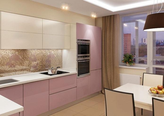 Кухня мой ей мечты в бежево-розовой палитре