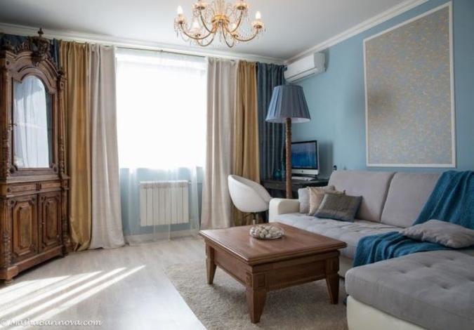 Бежево-голубой интерьер моей гостиной.