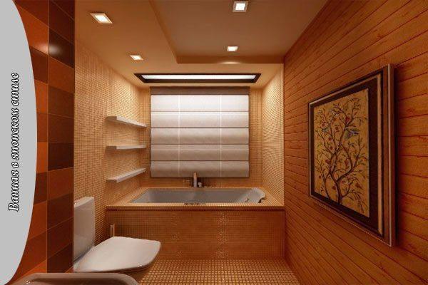 Фрагментарная деревянная отделка ванной в японском стиле.