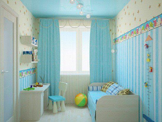 Голубой цвет в детской.