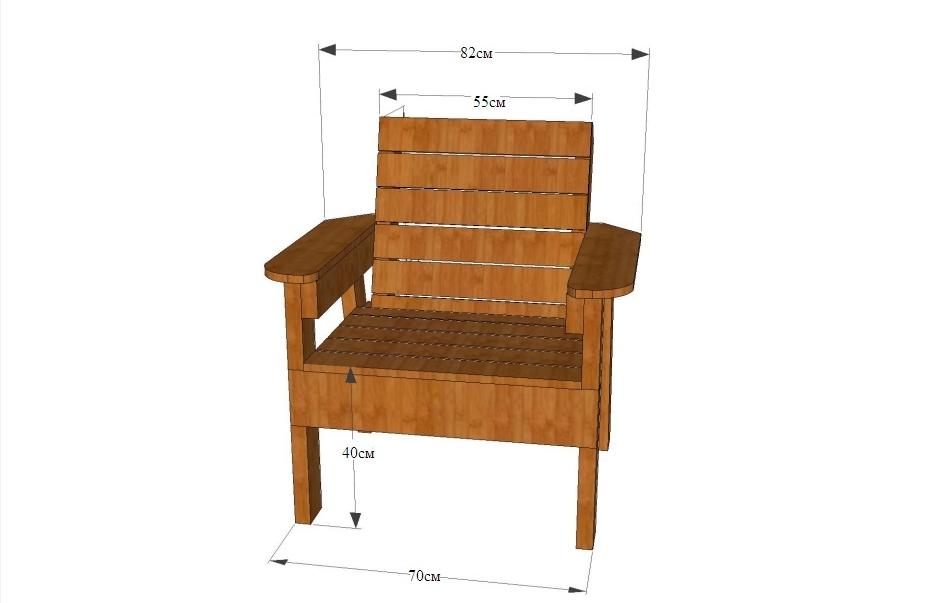 На чертеже показаны основные размеры кресла, подобранные под параметры человека среднего роста. При желании размеры можете пересчитать для себя