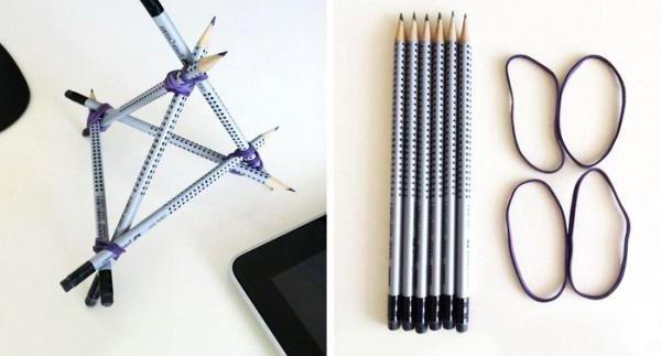 Подставка-тетраэдр для мобильного телефона из карандашей