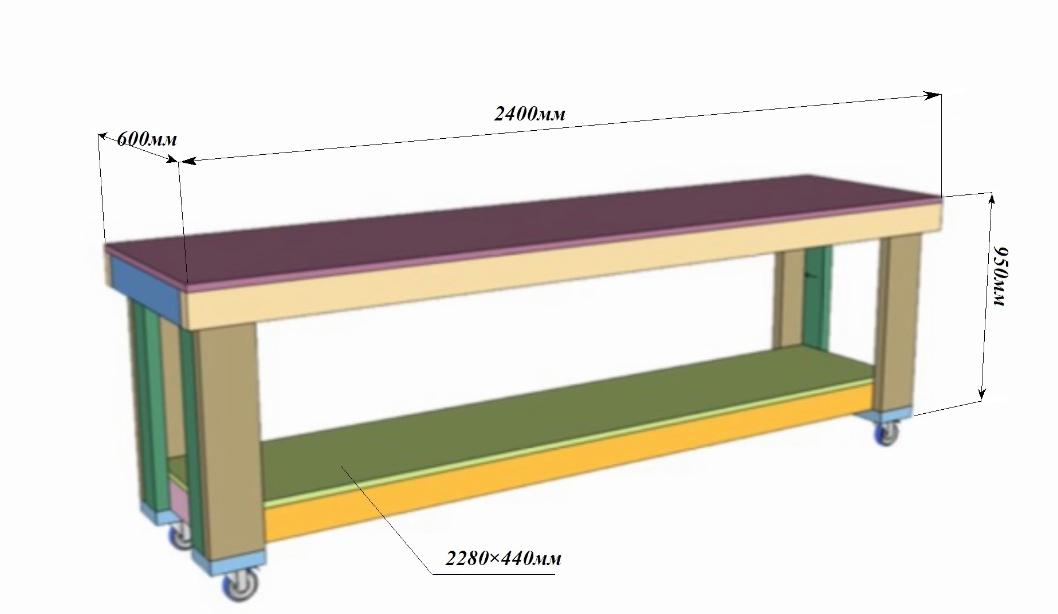 На схеме простой самодельный верстак с указанием основных размеров