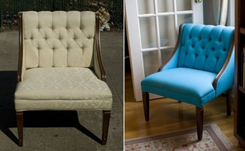 Пример того, как за счет замены обивки кресло преображается и выглядит не хуже современных дизайнерских изделий