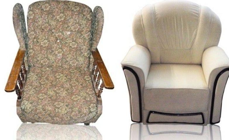 Пример того, как старое разбитое кресло изменяется до неузнаваемости
