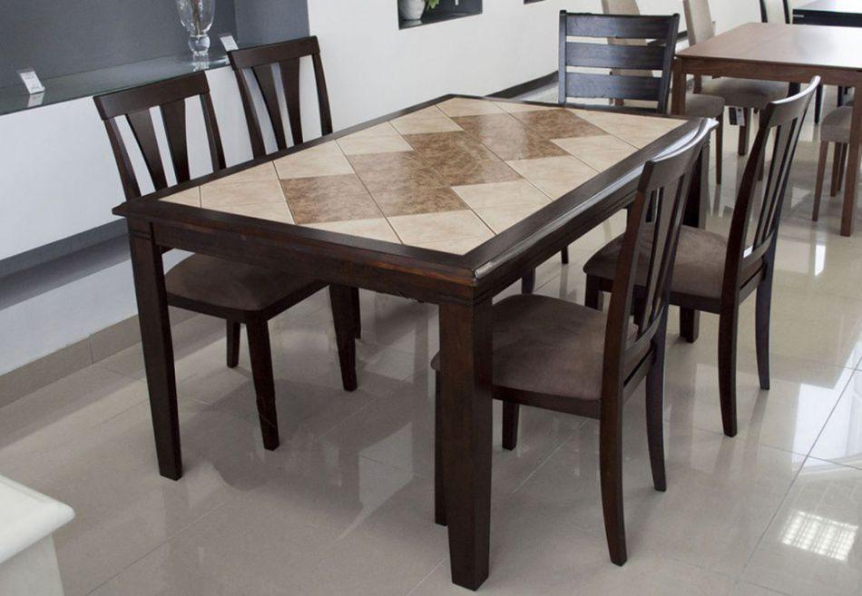 Керамическая облицовка столешницы даже заурядный прямоугольный стол может сделать произведением искусства.