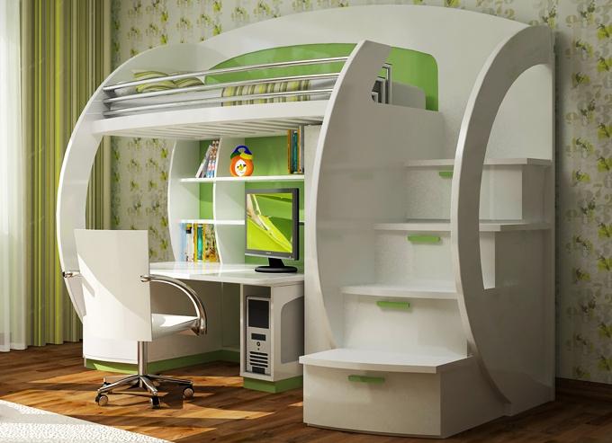 Стильная кровать-чердак со столом для подростка