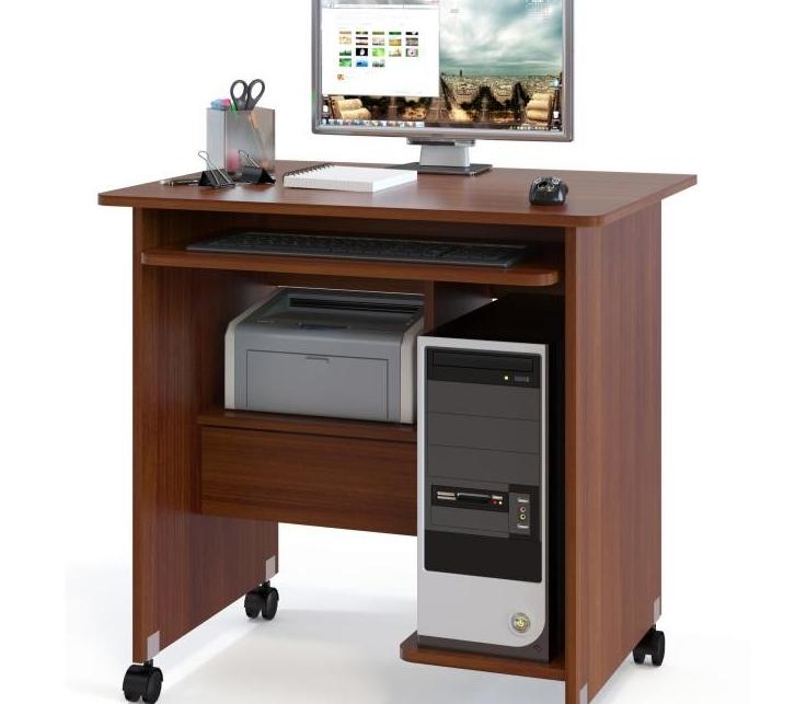 Вариант на колесиках с грамотной компоновкой позволяет расположить компьютер и все необходимое на небольшом пространстве