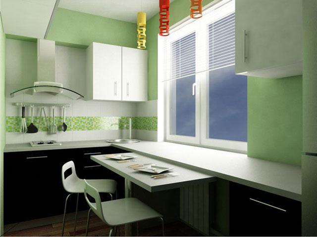 Стол можно вмонтировать и в подоконник на кухне.