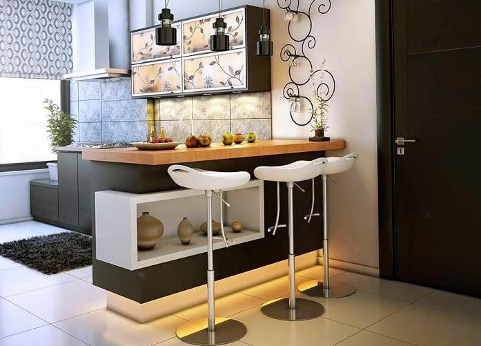 Зонирование пространства с помощью стола-стойки – прекрасное решение